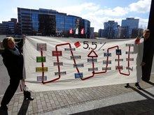 Banneraktion zur Tarifrunde 2015 bei der Ergo
